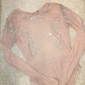 Cute mesh bodysuit with rhinestones